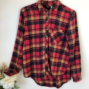 BDG Plaid Flannel Shirt, Red Orange Size Small